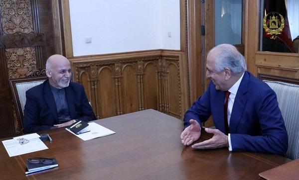 Khalilzad Briefs President Ghani on Taliban Talks