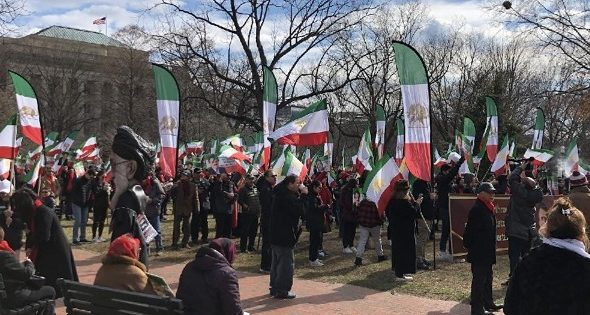 Hundreds Rally Near White House in Opposition to Iranian Gov't